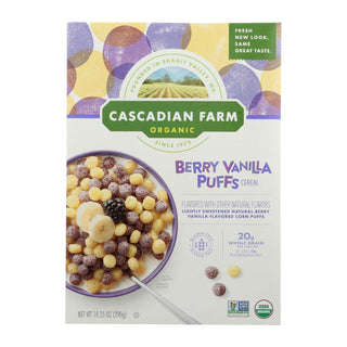 Cascadian Farm Cereal - Organic - Berry Vanilla Puff - 10.25 Oz - Case Of 12