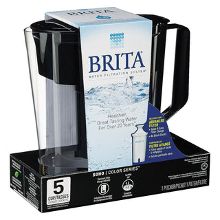 Brita - Soho Pitcher Water Filtration System - Black - Case Of 2