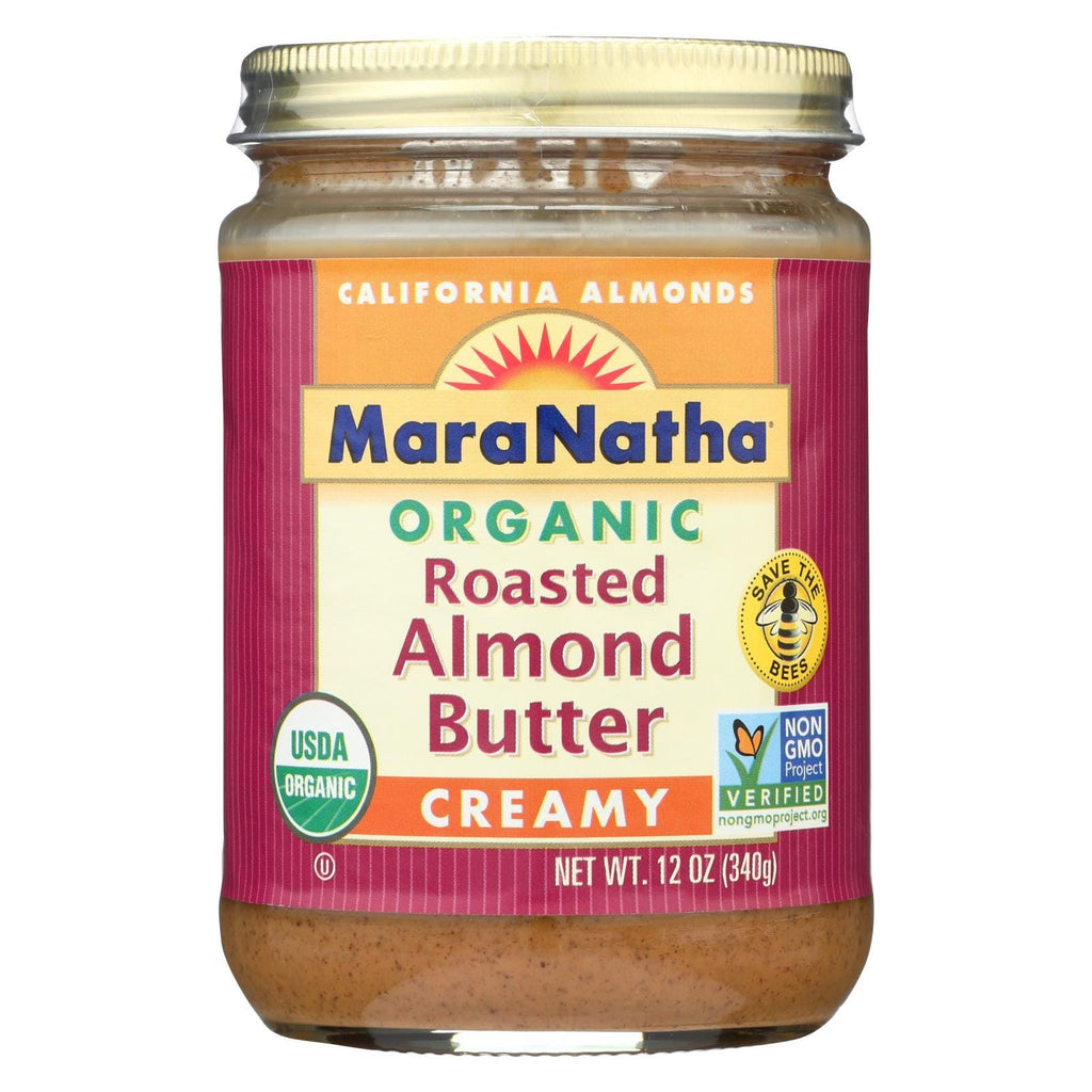 Maranatha Natural Foods Almond Butter - Creamy Roasted And Unsalted - Case Of 6 - 12 Oz.