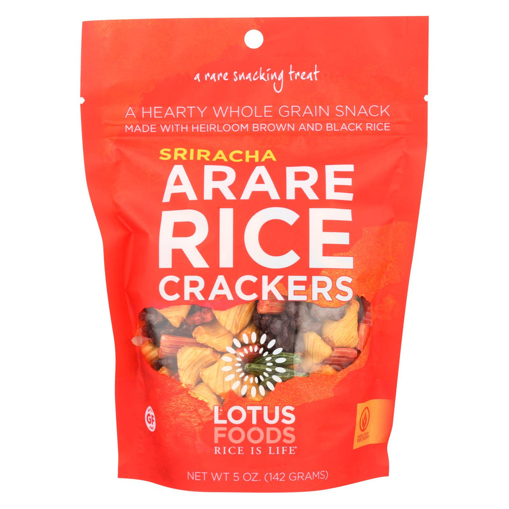 Lotus Foods Arare Rice Crackers - Sriracha - Case Of 8 - 5 Oz.