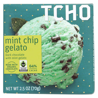 Tcho Chocolate Dark Chocolate Bar - Mint Chip Gelato 64 Percent Cacao - Case Of 12 - 2.5 Oz.