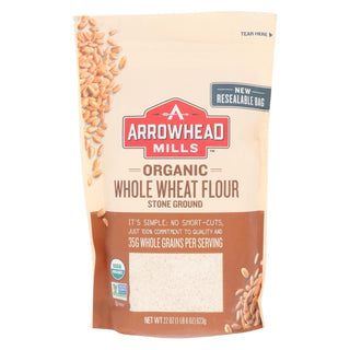 Arrowhead Mills - Organic Whole Wheat Flour - Stone Ground - Case Of 6 - 22 Oz.