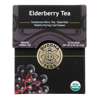 Buddha Teas - Organic Tea - Elderberry - Case Of 6 - 18 Count