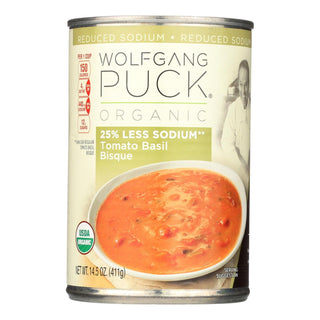 Wolfgang Puck Organic Soup - Reduced Sodium Tomato Basil Bisque - Case Of 12 - 14.5 Oz