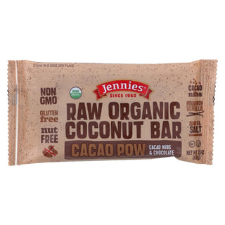 Jennie's Organic Cacao Powder Coconut Bar - Case Of 12 - 1.5 Oz.