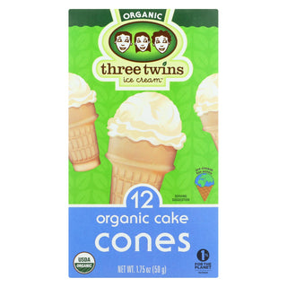 Three Twins Organic Cones - Cake Cones - Case Of 8 - 1.75 Oz