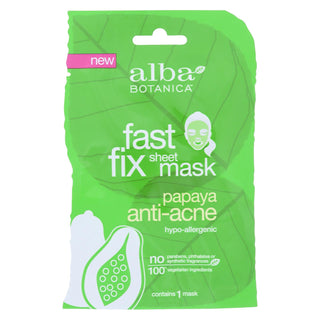 Alba Botanica - Fast Fix Sheet Masks - Papaya Anti- Acne - Case Of 8 - 1 Count