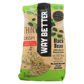 Way Better Snacks Tortilla Chip - Roasted Garlic & Black Bean - Case Of 9 - 11 Oz