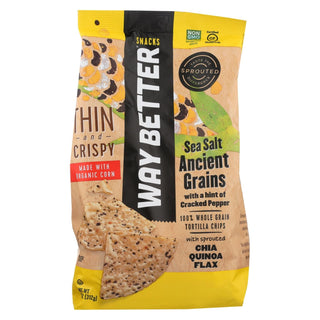 Way Better Snacks Tortilla Chip - Cracked Pepper Sea Salt - Case Of 9 - 11 Oz