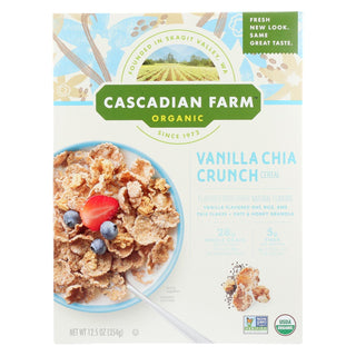 Cascadian Farm Organic Cereal - Vanilla Chia Crunch - Case Of 10 - 12.5 Oz