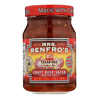 Mrs. Renfro's Salsa - Texas Red - Crft Beer - Case Of 6 - 16 Oz