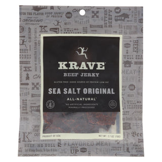 Krave Beef Jerky - Sea Salt Original - Case Of 8 - 2.7 Oz