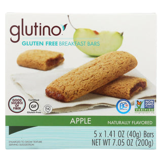 Glutino Breakfast Bars - Apple - Case Of 12 - 7.1 Oz.