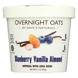 Dave's Gourmet - Overnight Oats - Blueberry Vanilla Almond - Case Of 8 - 2.1 Oz.