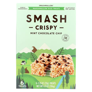 Smashmallow Marshmallow Rice Treats - Smashcrispy Mint Chocolate Chip - Case Of 8 - 6-1.15 Oz