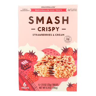 Smashmallow Marshmallow Rice Treats - Smashcrispy Strawberries & Cream - Case Of 8 - 6-1.15 Oz