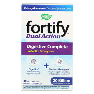 Nature's Way - Fortify Dual Action Digestive Complete - Probiotics And Enzymes - 30 Veg. Capsules