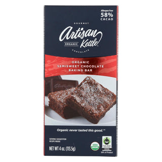 Artisan Kettle Baking Chocolate - Semisweet - Case Of 12 - 4 Oz