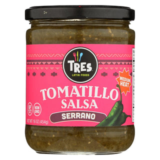 Tres Latin Foods - Tomatillo Salsa - Serrano - Medium Heat - Case Of 6 - 16 Oz.