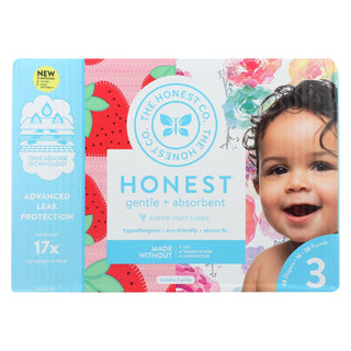 The Honest Company - Club Box - Diapers Size 3 - Rose Blossom And Strawberries - 68 Count