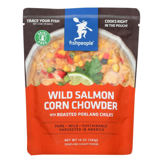 Fishpeople Seafood Wild Salmon Corn Chowder With Roasted Poblano Chiles - Case Of 12 - 10 Oz
