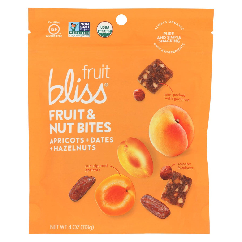 Fruit Bliss - Organic Fruit And Nut Bites - Apricot - Case Of 6 - 4 Oz.
