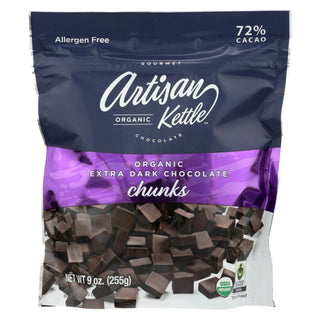 Artisan Kettle - Organic Chocolate Chips - Extra Dark Chunks - Case Of 6 - 9 Oz.