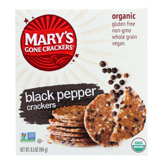 Mary's Gone Crackers Black Pepper Crackers  - Case Of 6 - 6.5 Oz