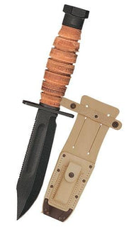 Ontario 499 Survival Fixed 5.0 in Black Blade Leather Handle