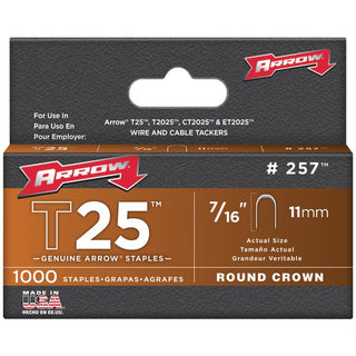 "T25 Round Crown Staples, 7-16""; 1,000 pk"