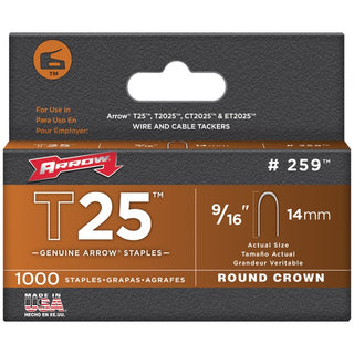 "T25 Round Crown Staples, 9-16""; 1,000 pk"
