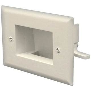 Easy-Mount Recessed Low-Voltage Cable Plate (Ivory)