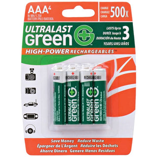 Green High-Power Rechargeables AAA NiMH Batteries, 4 pk