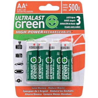 Green High-Power Rechargeables AA NiMH Batteries, 4 pk