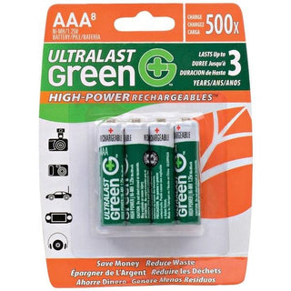 Green High-Power Rechargeables AAA NiMH Rechargeable Batteries (8 pk)