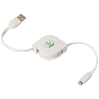 Retractable Charge and Sync USB Cable with Lightning(R) Connector, 3 Feet (White)