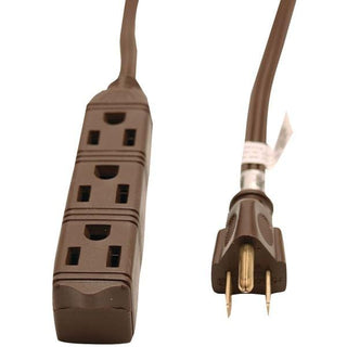 3-Outlet Grounded Office Cord, 8ft (Brown)