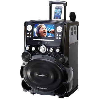 "Professional DVD-CD+G-MP3+G Bluetooth(R) Karaoke System with 7"" TFT Color Screen & Tote Wheels"