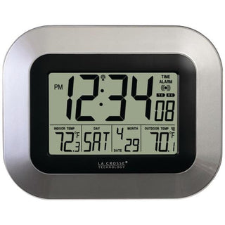 Atomic Digital Wall Clock with Indoor-Outdoor Temperature