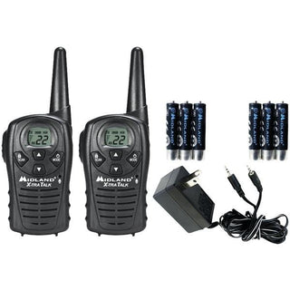 18-Mile GMRS Radio Pair Value Pack with Charger & Rechargeable Batteries