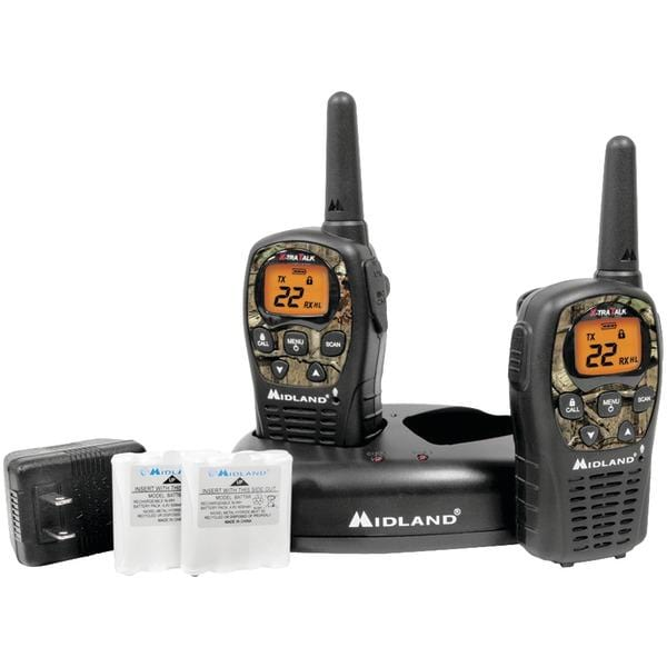 24-Mile Camo GMRS Radio Pair Value Pack with Drop-in Charger & Rechargeable Batteries