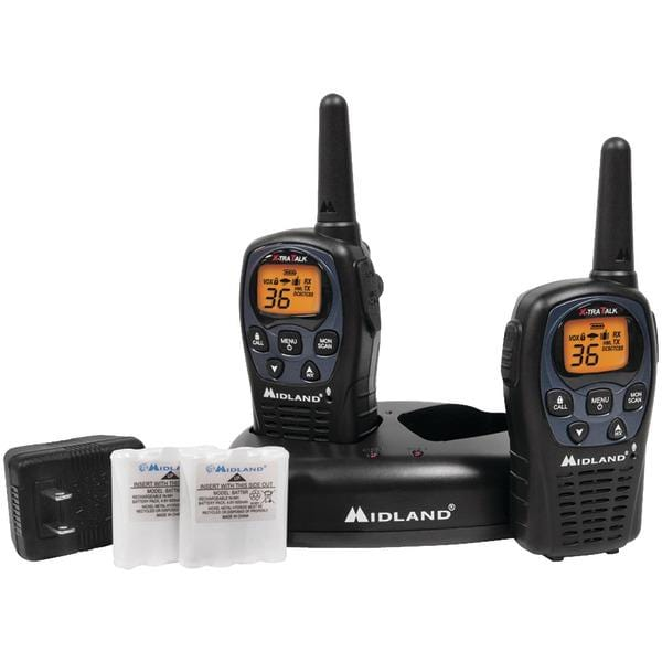 26-Mile GMRS Radio Pair Pack with NOAA(R) Weather Alerts, Drop-in Charger and Rechargeable Batteries