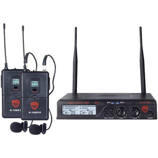 UHF Dual 100-Channel Wireless Lavalier Handheld Microphone System