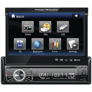 "Power Acoustik PTID-8920B 7"" Single-DIN In-Dash Motorized LCD Touchscreen DVD Receiver with Detachable Face (With Bluetooth)"