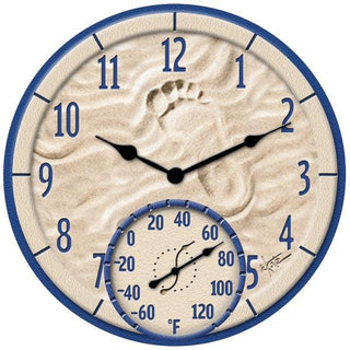 "14"" By the Sea Poly Resin Clock with Thermometer"