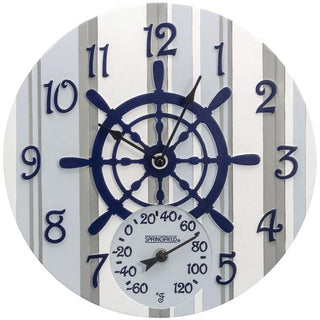"14"" Poly Resin Clock with Thermometer (Captain's Wheel)"