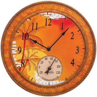 "14"" Poly Resin Clock with Thermometer (Mosaic Palms)"