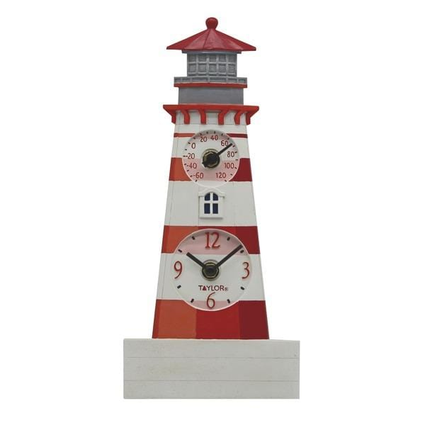 12-Inch Lighthouse Clock with Thermometer