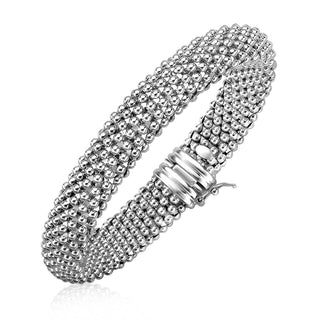 Sterling Silver Rounded Motif Mesh Bracelet with Rhodium Plating