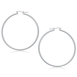 14k White Gold Polished Hoop Earrings (60 mm)